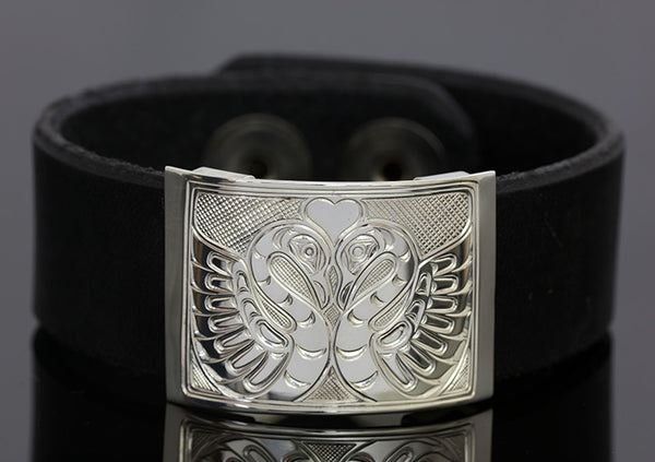 Swans Silver-Leather Bracelet - Small