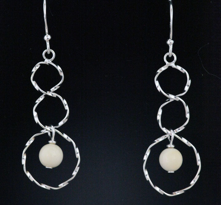 Silver Circles Earrings with Bead