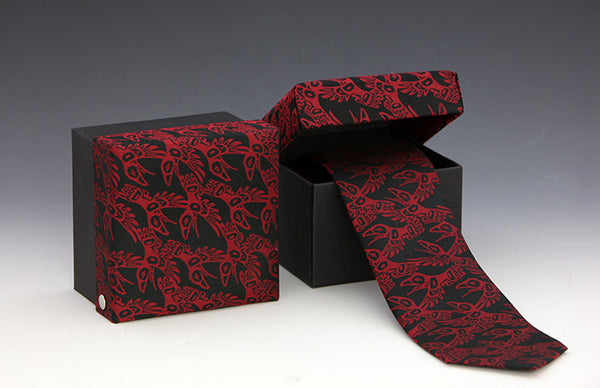 Raven Neck Tie - Red