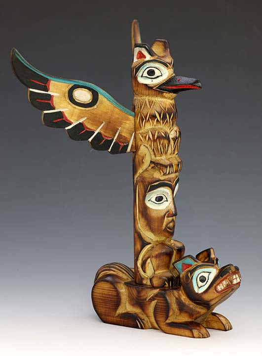 Raven's White Wings Totem Pole