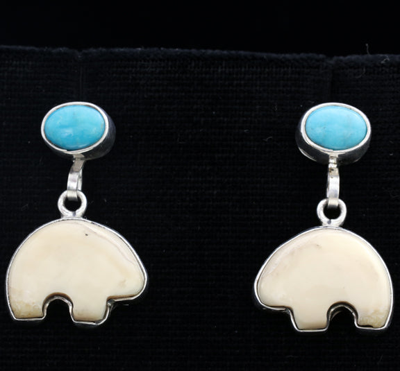 Walrus Ivory with Turquoise Bear Earrings
