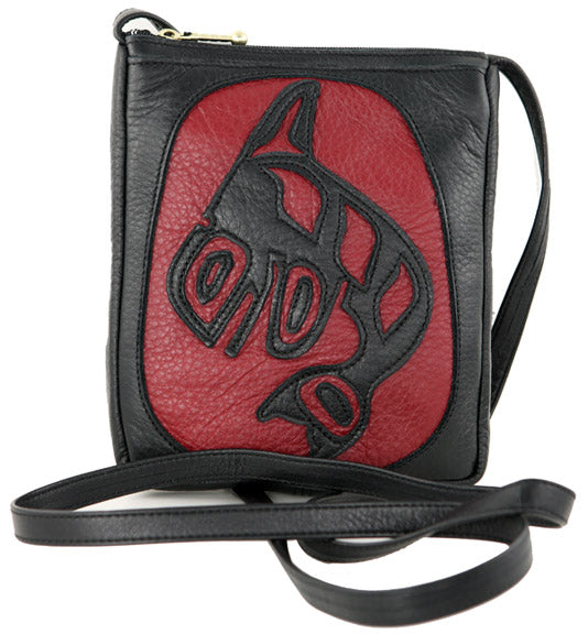 Killer Whale Leather Compact Bag Red