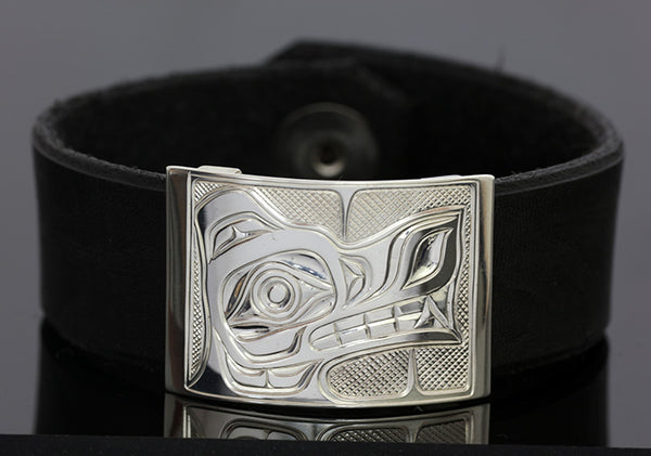 Wolf Silver-Leather Bracelet - Small