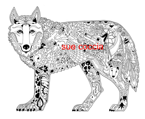 Wolf Stamp by Sue Coccia