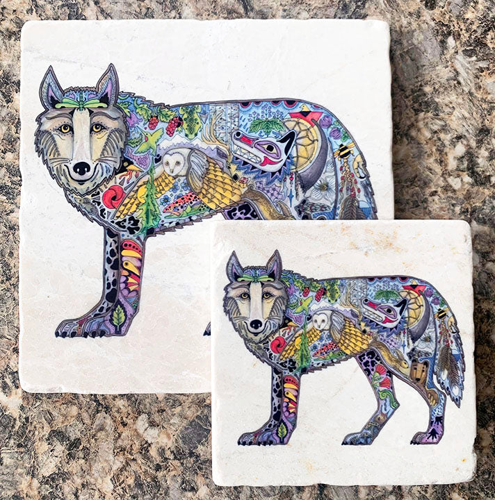 Marble Wolf Trivet or Coaster by Sue Coccia