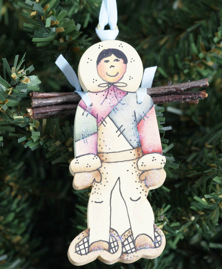 Eskimo with Wood Pile Ornament