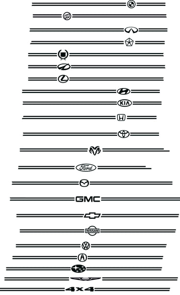 Auto maker symbols for pinstripe without stripe kits