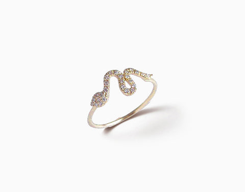 Baby Snake Ring - Pave Diamonds