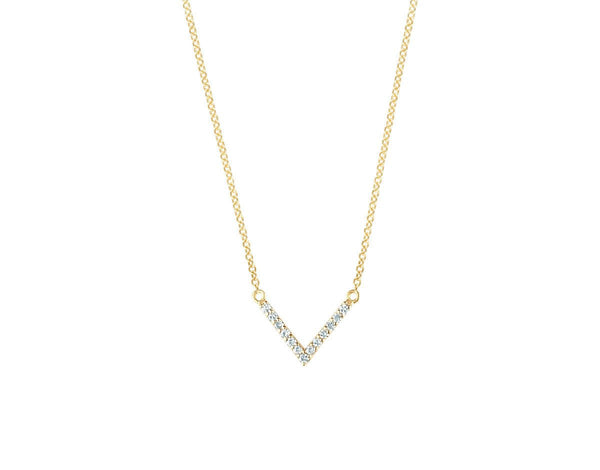 Pave Diamond Arrow Halskette - funkelnde Diamanten<br> 14k Gelbgold - Giselle Jewelry CH - 1