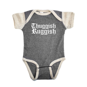 "Premium Onesie Thuggish Ruggish Logo ""Heather Grey/Sand"""