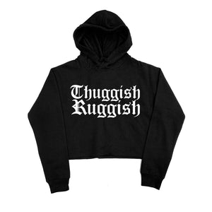 "Thuggish Ruggish ""Black"" Crop Top Hoodie"