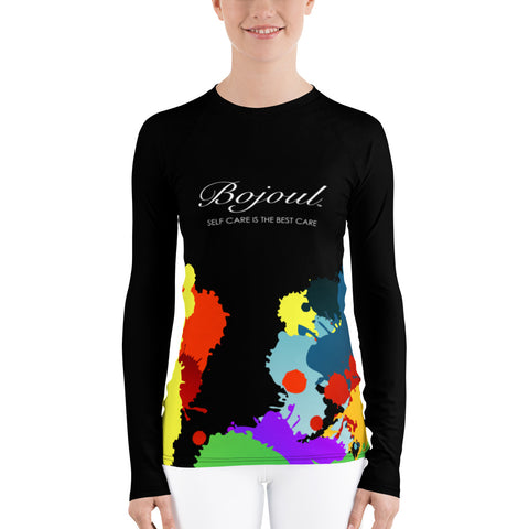 Women's Long Sleeve Black Paint Splashed Shirt
