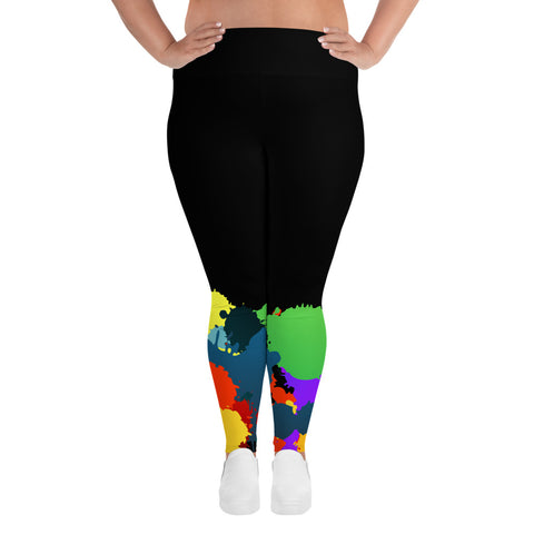 Bojoul Plus Size Paint Splash Leggings