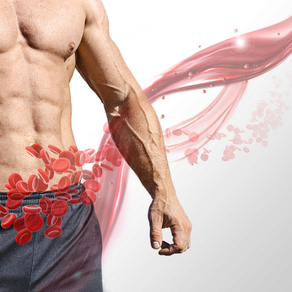 Very fit man's midsection with great blood flow in arm and blood flow graphic