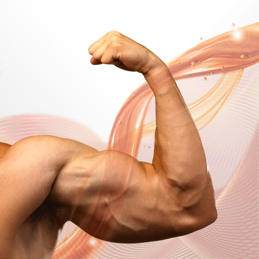 man's arm flexing bicep with huge girth and growth graphic