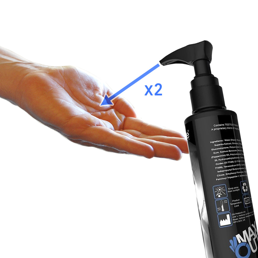 Max Out Jelqing Enhancement Serum with hand showing 2x pumps