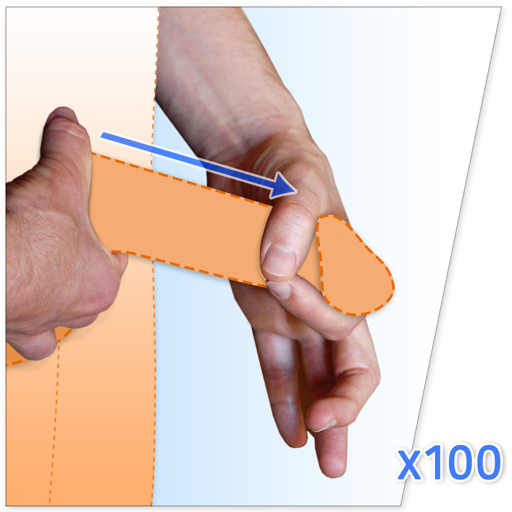 Graphic demonstrating that you should jelq 100 times per session with hands and penis graphic