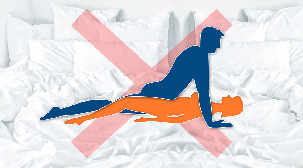 cartoon graphic of blue man and orange woman in missionary position with white bedding and red X background graphic