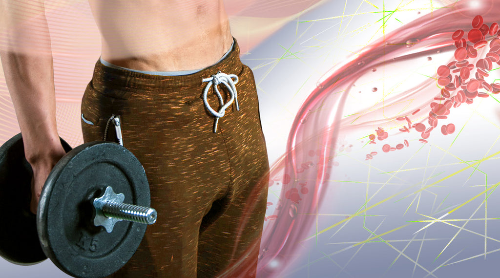 Man's midsection wearing sweatpants and holding a dumbbell with blood flow graphic in background