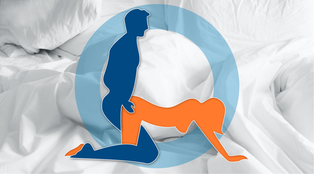 cartoon graphic of blue man and orange woman in doggy style position with white bedding background graphic