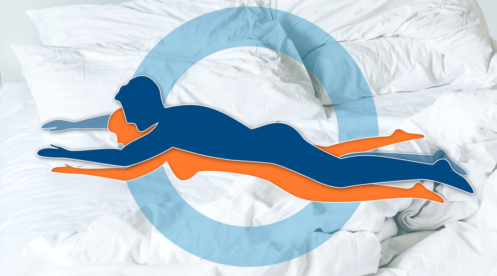 cartoon graphic of blue man and orange woman in spooning position with white bedding background graphic