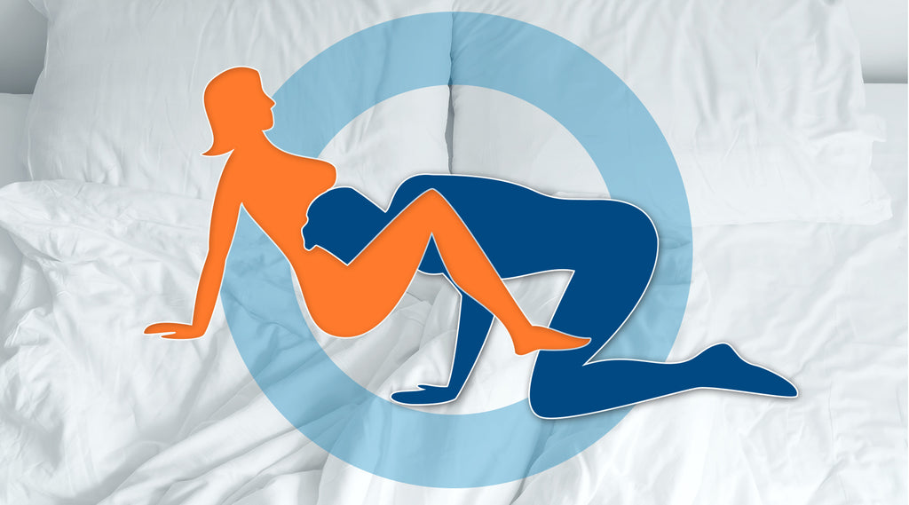 cartoon graphic of blue man and orange woman in oral sex position with white bedding background graphic
