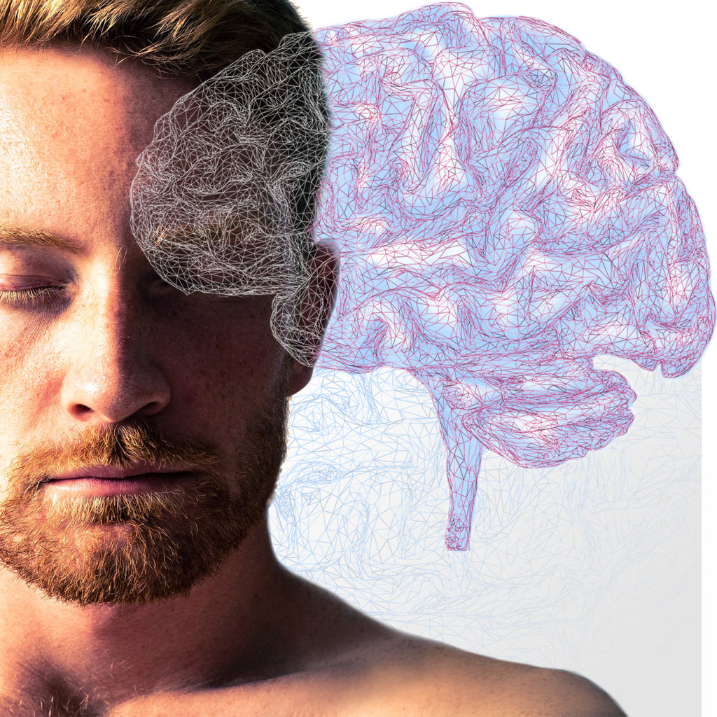 Handsome man with beard focusing with mind graphic superimposed