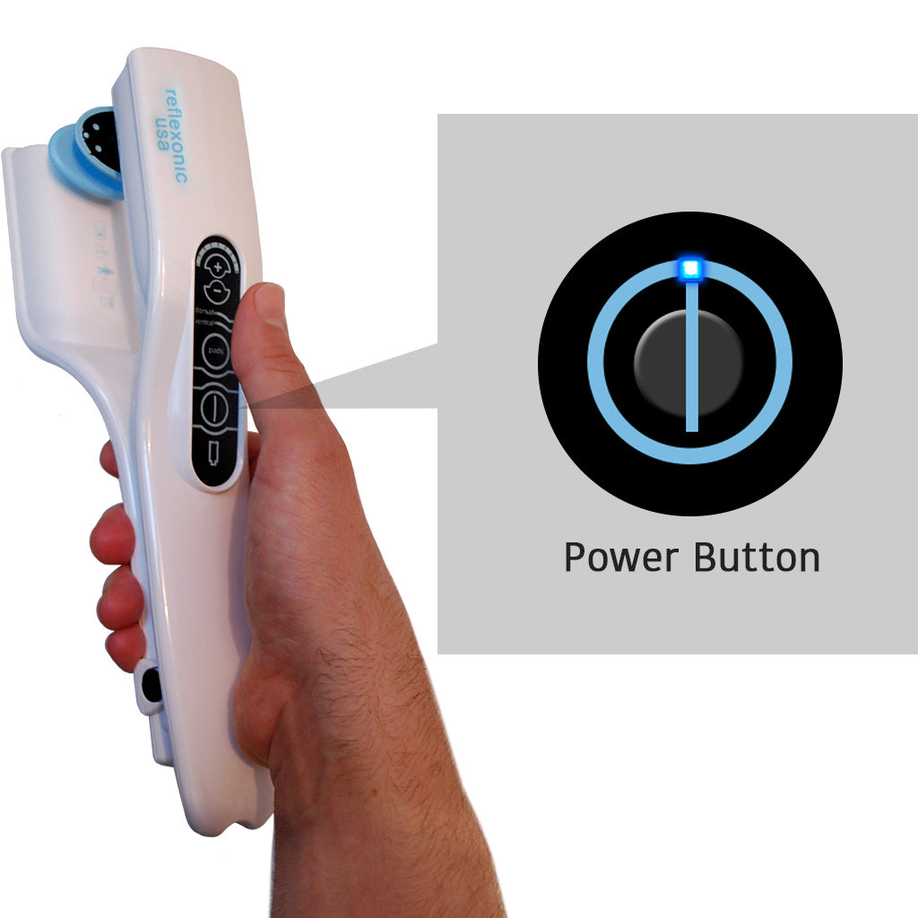 Hand holding Viberect X2 with power button zoom