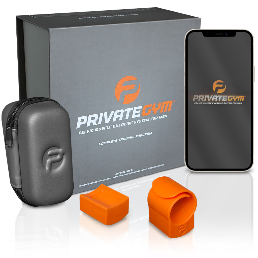 Private Gym Complete Training Program orange with mobile phone
