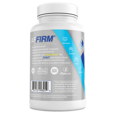 Affirm Nutritional Supplement for penile blood flow rear of bottle