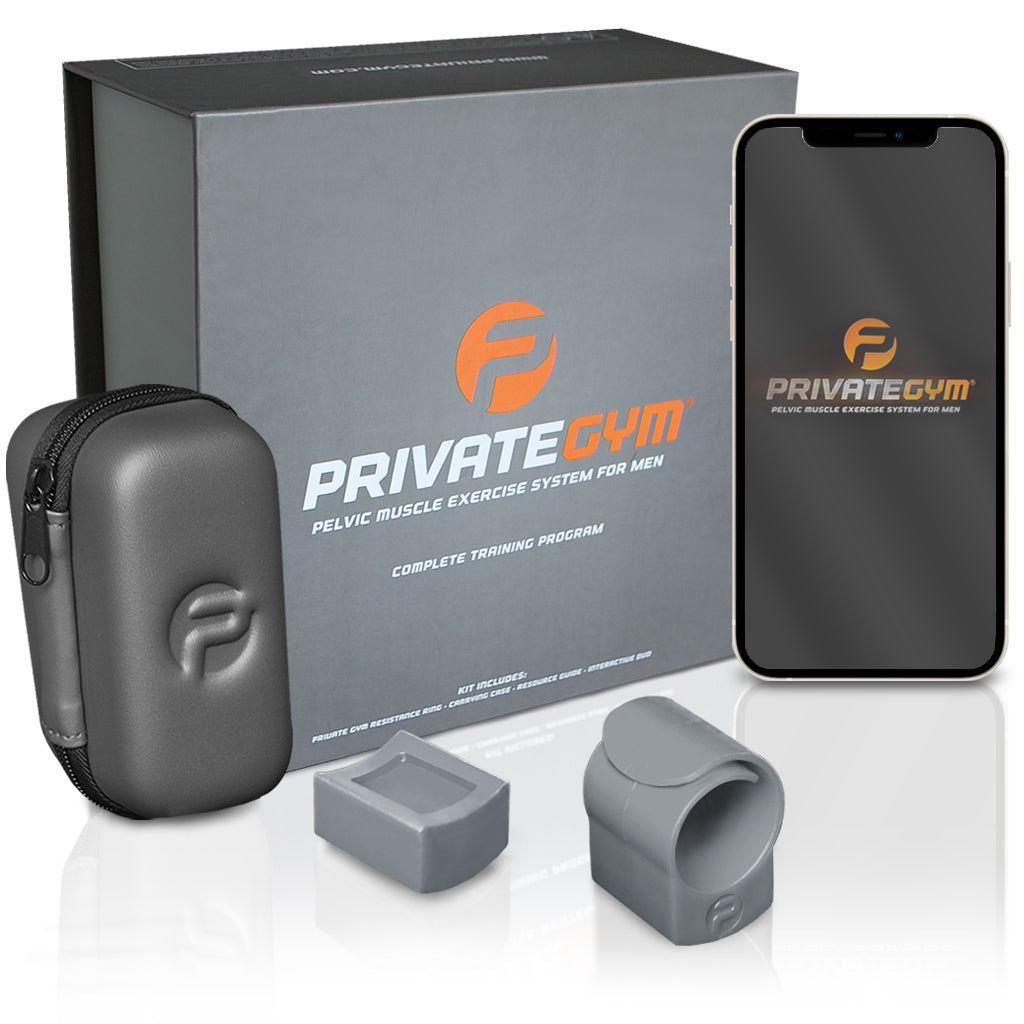 Private Gym Complete Training Program gray with mobile phone