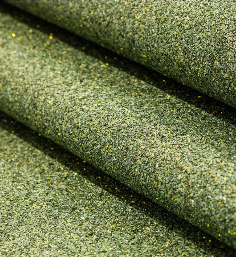 Mica Glitter Wallpaper (Emerald Green With Gold Glitter) - MS58