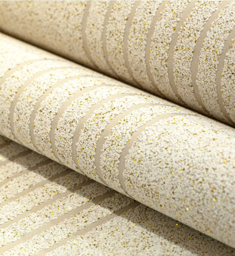 Mica MS Stripe Wallpaper (White With Gold Glitter) - MSS15