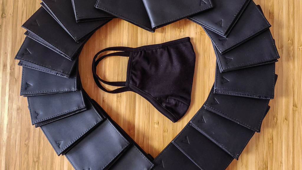 Allett Leather ID Slim Wallets Shaped Into a heart with a black facemask in the center for black lives matter