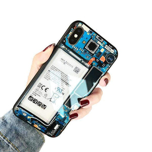 3D Design Creative Battery Glass All Inclusive Anti-Drop Phone Case For iPhone