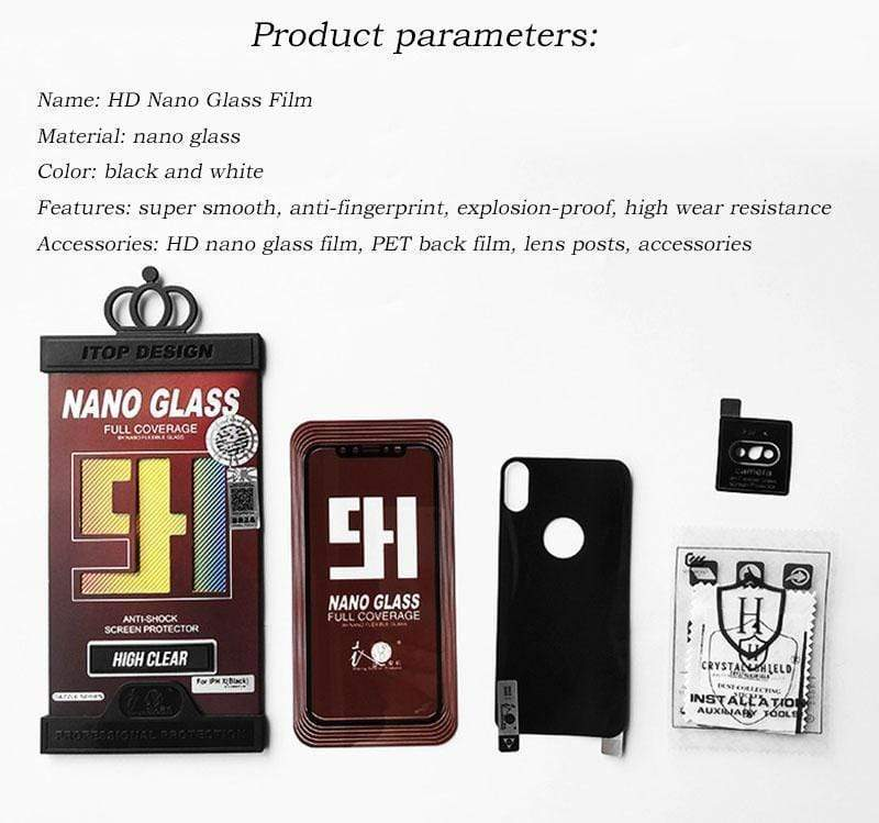 3 in 1 Nano Tempered Glass + PET back film + Explosion-proof Lens Stickers iPhone HD Full Screen Nano Tempered Glass 6D Transparent Protective Film for iPhone X / XS / XS Max / XR / 8/7/6 / 6s Screen Protection