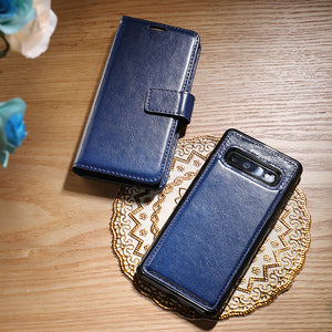 2-in-1 Genuine Leather Wallet Card Magnetic Detachable Phone Case For Samsung S10 S10Plus S10E/Lite S9 S9Plus
