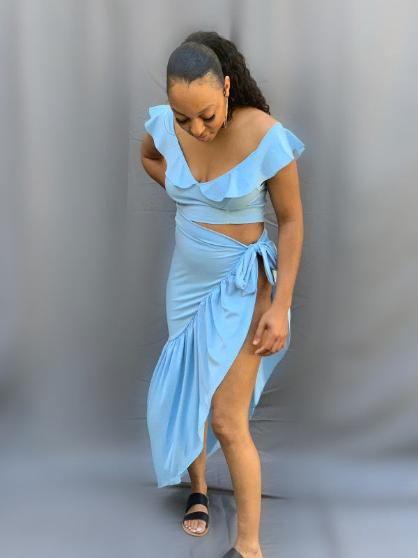 Bahamas Asymmetrical Ruffle Skirt Set