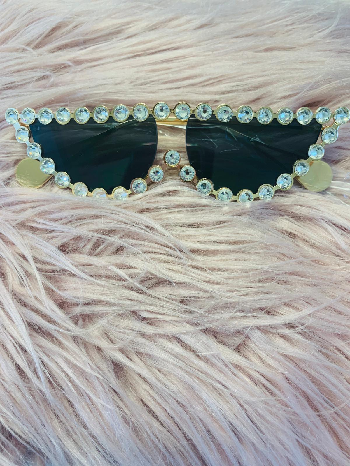 Rhinestone Cat Eye Sunglasses black