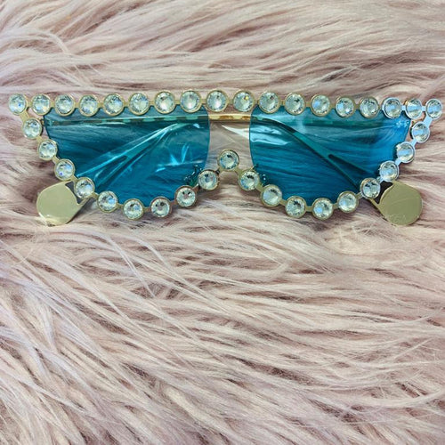 Rhinestone Cat Eye Sunglasses blue