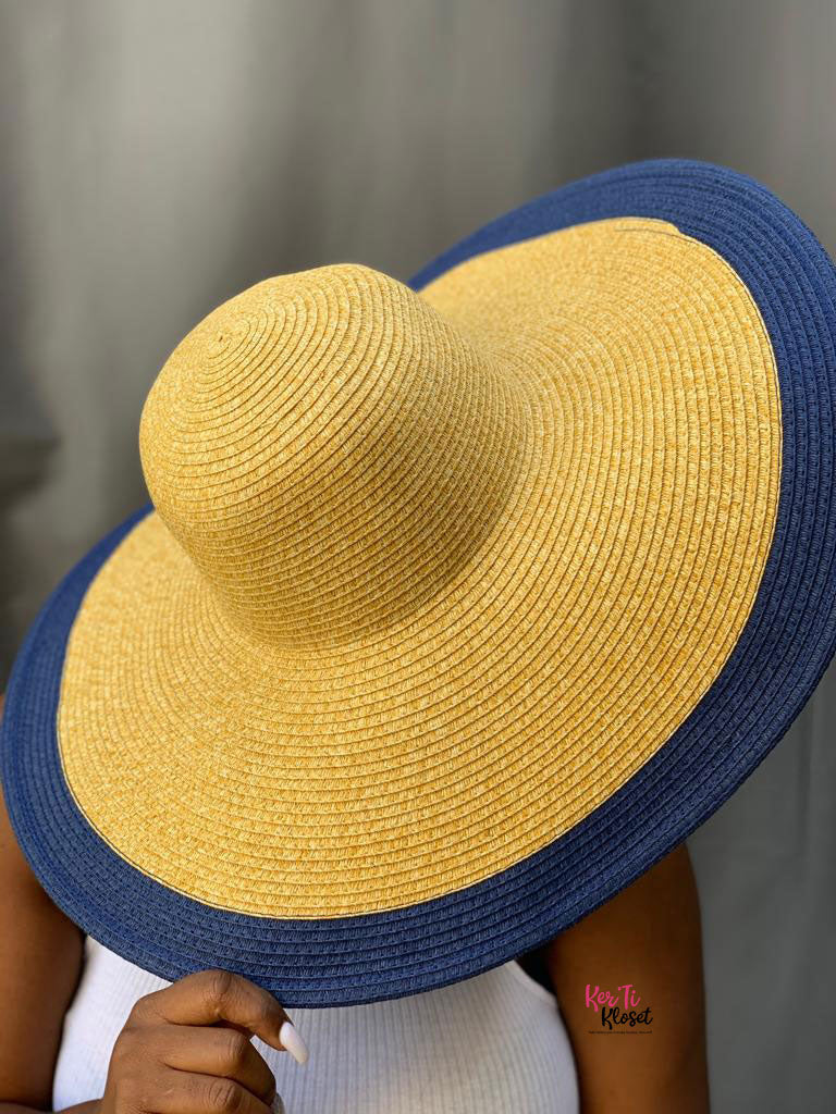 Rock the Boat Straw Sun Hat Navy Blue