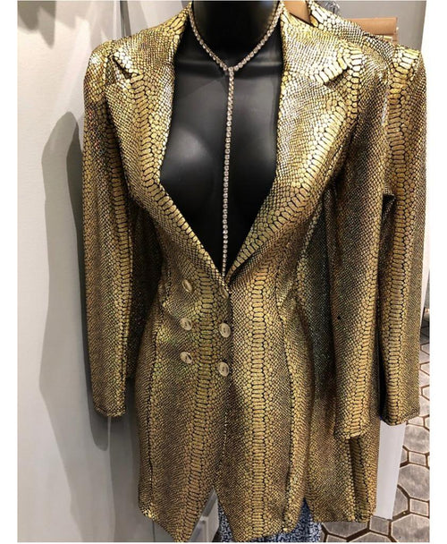 Gold Snake Print Blazer Dress Rasheeda Love n Hip Hop Atlanta