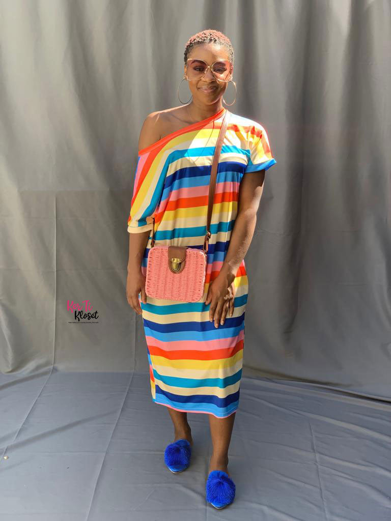 Off Shoulder Multi-color T-Shirt Dress