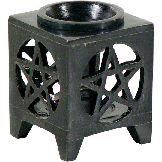 Black Pentagram Soapstone OIl Burner