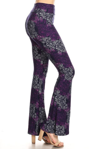 Purple Floral Flare Pants