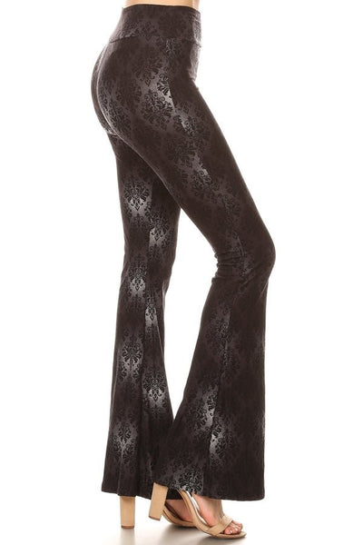 Black Damask Flare Pants