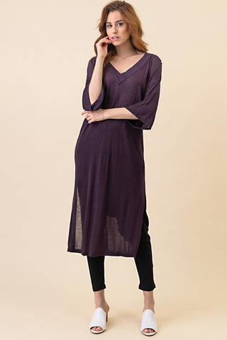 Hi Low V Neck Tunic (Purple)