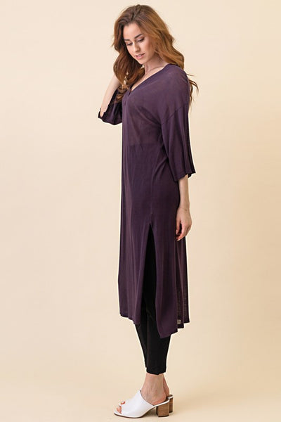 Hi Low V Neck Tunic (Purple) ONE SIZE