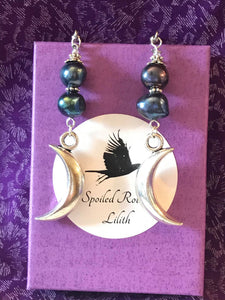 Black Pearl Crescent Moon Earrings