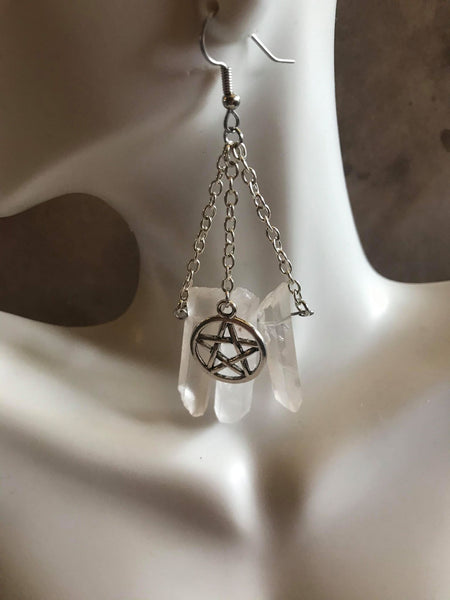 Triple Quartz Point Pentacle Earrings